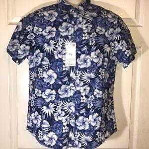Denim & flower Slim Fit medium blue floral shirt